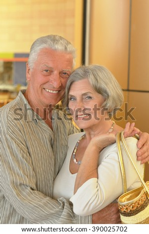 senior couple in a shopping center