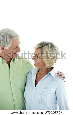 Senior couple in love. Isolated on white background with copy space.