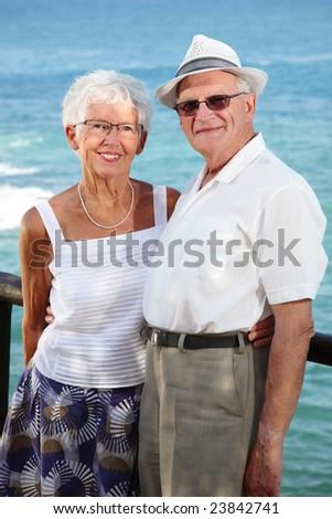senior couple in love - lifestyle portrait - stock photo
