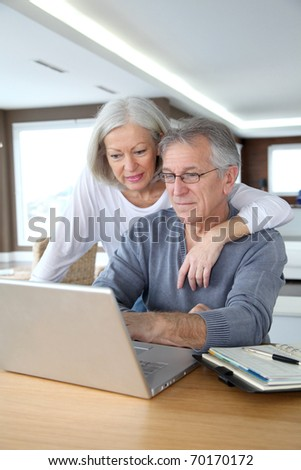Senior couple making secured payment on internet - stock photo