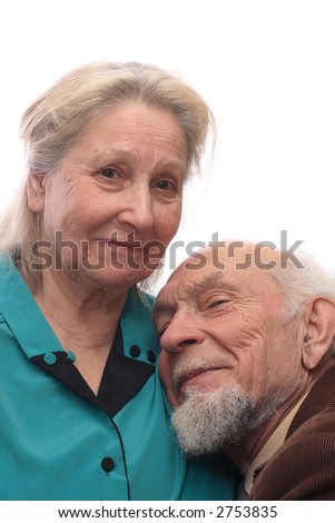Senior couple, man reclined head on his wife's shoulder, isolated on white background