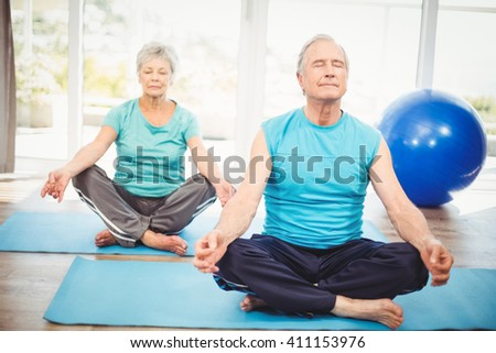 Senior couple meditating with eyes closed on exercise mat at home - stock photo