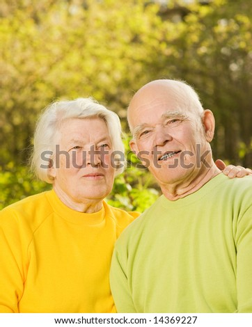 Senior couple outdoors - stock photo