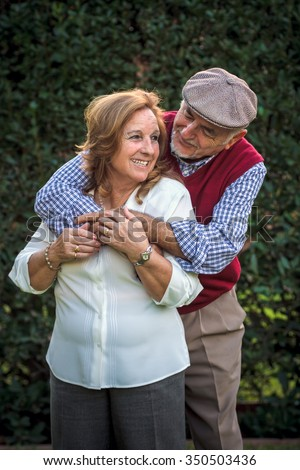 Senior couple portrait in Spain. They are 75 years old - stock photo