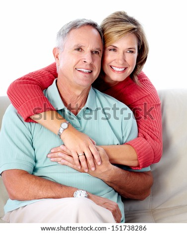 Senior couple portrait. Isolated on white background. - stock photo