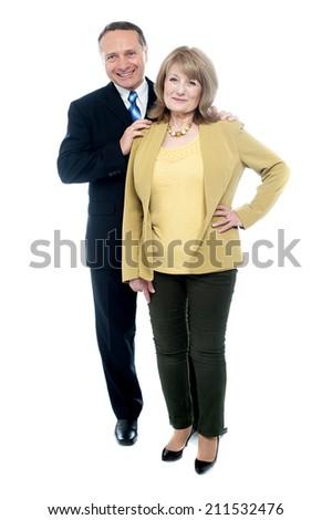Senior couple posing together isolated on white - stock photo