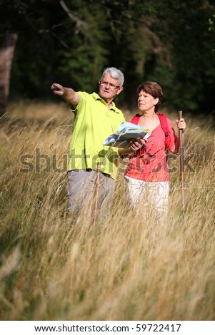 Senior couple rambling in countryside with map - stock photo