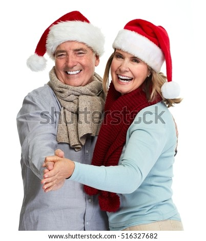 Senior couple santa.