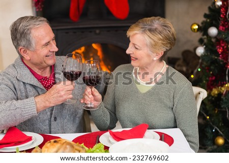 Senior couple toasting red wine at home in the living room