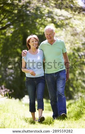 Senior Couple Walking In Summer Countryside - stock photo