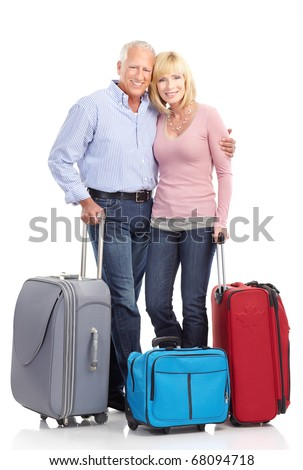Senior couple with bags. Isolated over white background - stock photo