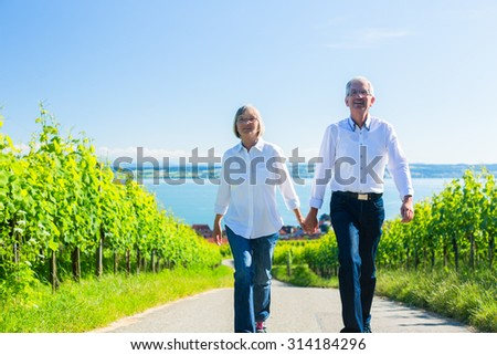 Senior couple, woman and man, having walk in vineyard - stock photo