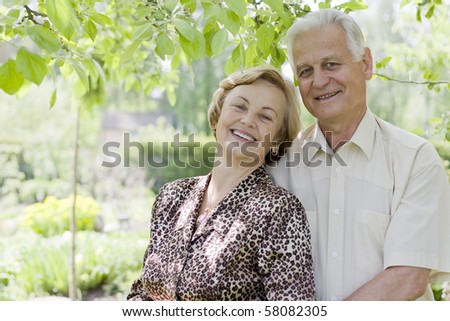 Senior couple - 42 years in love - stock photo