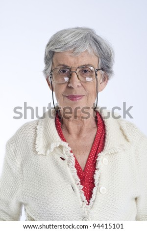 Senior eastern european women, studio shot - stock photo