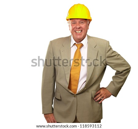 Senior Engineer Standing And Smiling On White Background - stock photo