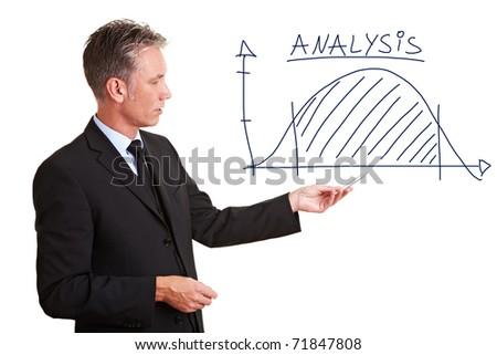 Senior entrepreneur explaining his analysis with a chart - stock photo