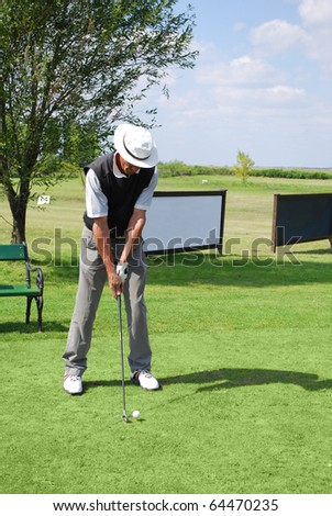 senior golf player - stock photo