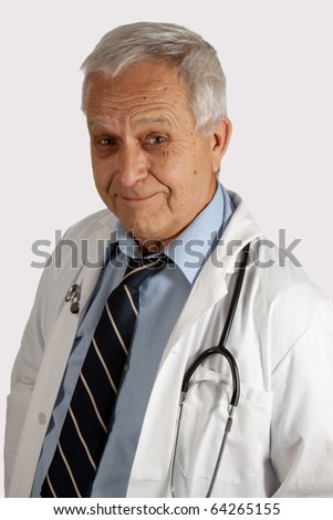 Senior grey hair man wearing doctor coat and stethoscope - stock photo