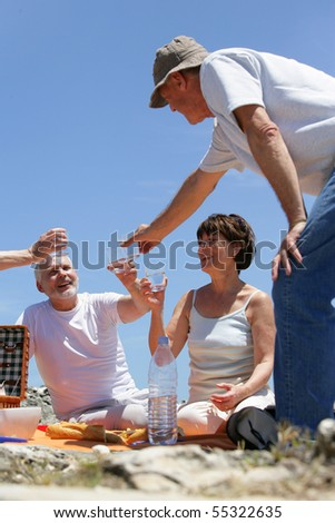 Senior group having a picnic at the seaside - stock photo