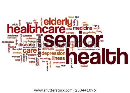 Senior health word cloud concept - stock photo