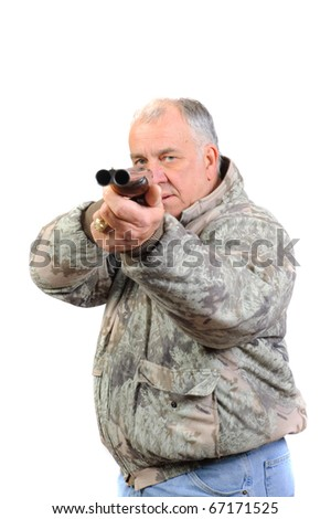 Senior hunter in sage camo with shotgun pointed at viewer isolated on white - stock photo