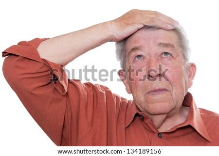 Senior is forgetful - stock photo