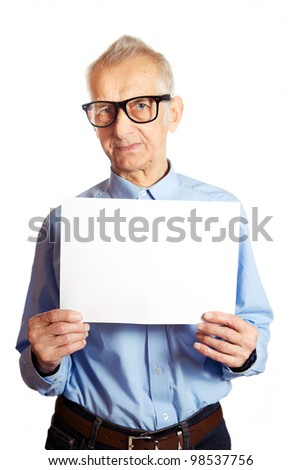Senior is showing white paper. - stock photo