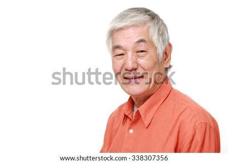 senior Japanese man in good mood - stock photo