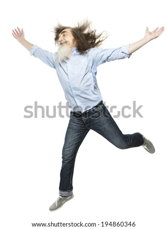 Senior jumping open arms, happy active elder. Healthy old man running isolated white background - stock photo