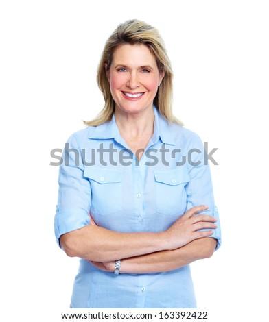 Senior lady portrait isolated over white background. - stock photo
