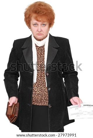 Senior lady standing with empty wallet and bill.  Isolated - stock photo