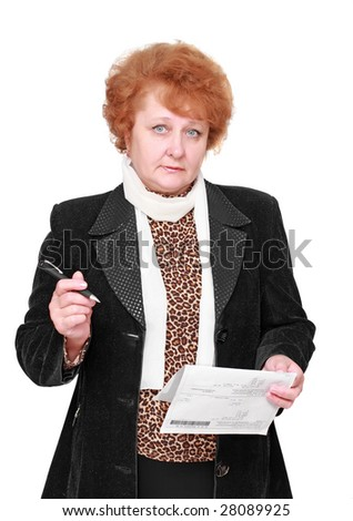 Senior lady standing with pen and flat rent bill.Isolated. - stock photo