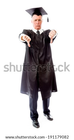 Senior male graduate making thumbs down sign - stock photo