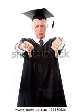 Senior male graduate making thumbs down sign with both hands - stock photo