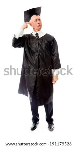 Senior male graduate shooting self in head - stock photo