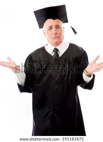 Senior male graduate shrugging - stock photo