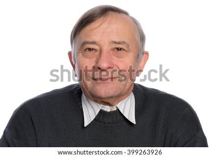 Senior male head shot - stock photo