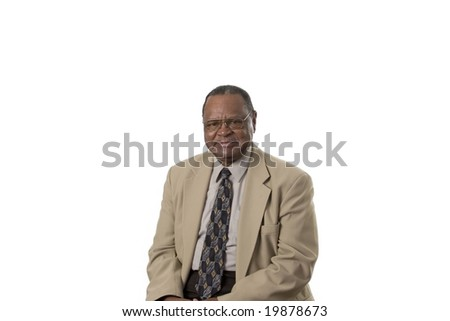 Senior male portrait looking at camera - stock photo