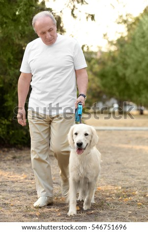 Senior man and big dog walking in park
