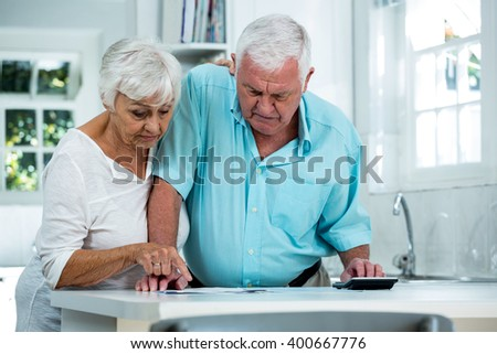 Senior man and woman calculating finance on table at home - stock photo