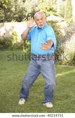 Senior Man Doing Tai Chi In Garden - stock photo