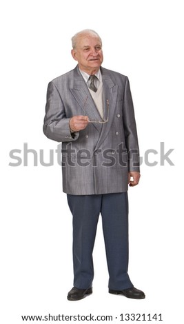 Senior man giving a speech isolated against a white background. - stock photo