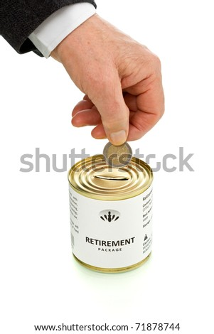 Senior man hand putting coin in retirement package tin can - isolated with reflection - stock photo