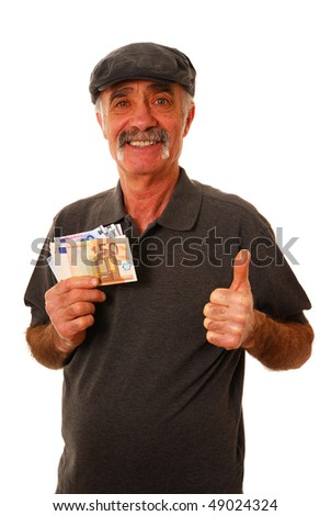 Senior man holding euro bank notes and giving the thumbs up