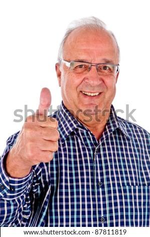 senior man holding her thumb up - stock photo