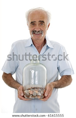Senior man holding money jar