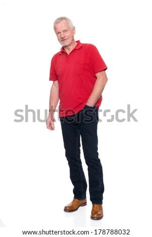 Senior man in front of white background - stock photo
