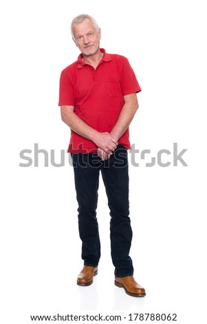 Senior man in front of white background - stock photo