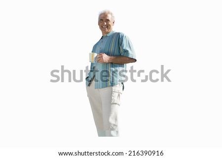 senior man in striped shirt holding mug, cut out
