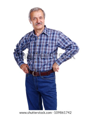 Senior man isolated on white background - stock photo